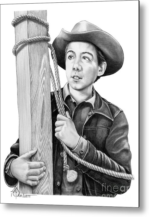 Pencil Metal Print featuring the drawing Johnny Crawford-Mark McCain by Murphy Elliott