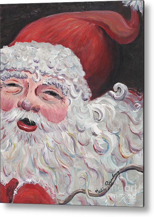 Santa Metal Print featuring the painting Jolly Santa by Nadine Rippelmeyer