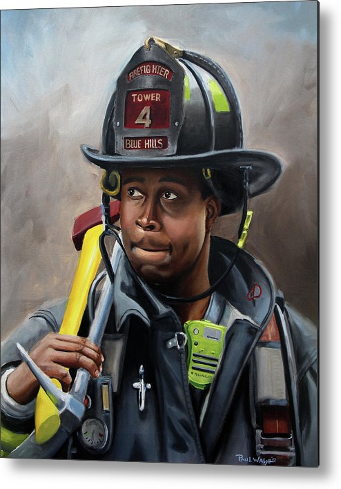 Firefighters Metal Print featuring the painting Kevin by Paul Walsh