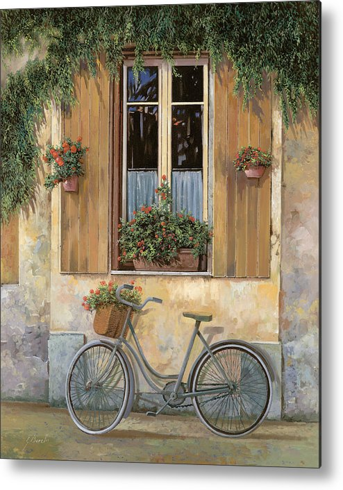Bike Metal Print featuring the painting La Bicicletta by Guido Borelli