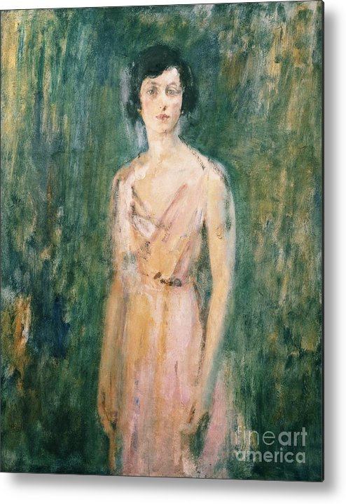 Lady Metal Print featuring the painting Lady in a Pink Dress by Ambrose McEvoy