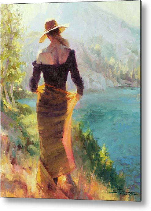 Woman Metal Print featuring the painting Lady of the Lake by Steve Henderson