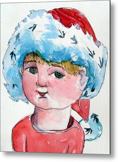 Santa Metal Print featuring the painting Lexi by Mindy Newman