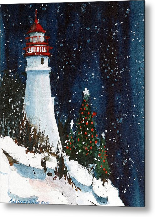 Liberty. Christmas Metal Print featuring the painting Liberty - Christmas at the Lighthouse by Charles Rowland