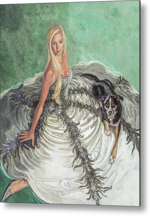 Fashion Illustration Metal Print featuring the painting Lily Pad by Barbara Tyler Ahlfield