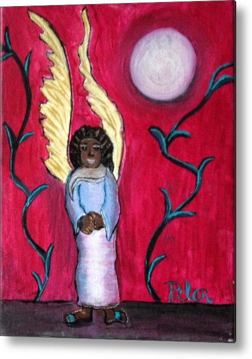 Beautiful Black Angel With Long Gold Wings Metal Print featuring the painting Little Angel by Pilar Martinez-Byrne