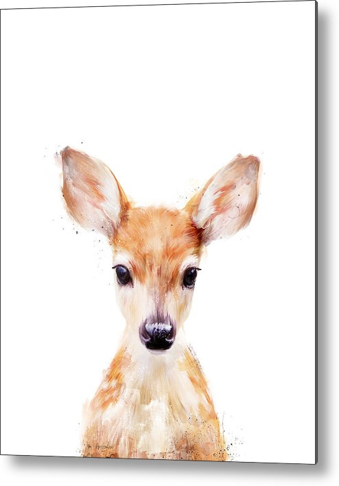 Fawn Metal Print featuring the painting Little Deer by Amy Hamilton