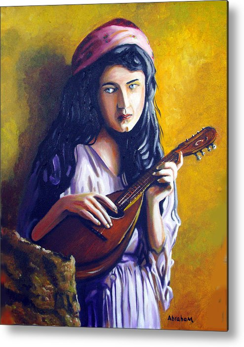 Oil Metal Print featuring the painting Little Gypsy by Jose Manuel Abraham