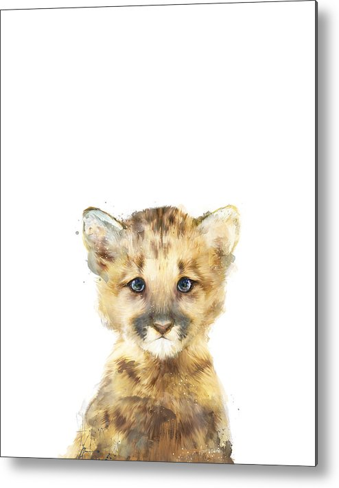 Mountain Lion Metal Print featuring the painting Little Mountain Lion by Amy Hamilton