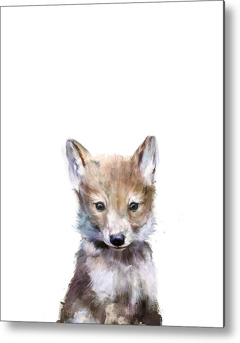 Wolf Metal Print featuring the painting Little Wolf by Amy Hamilton