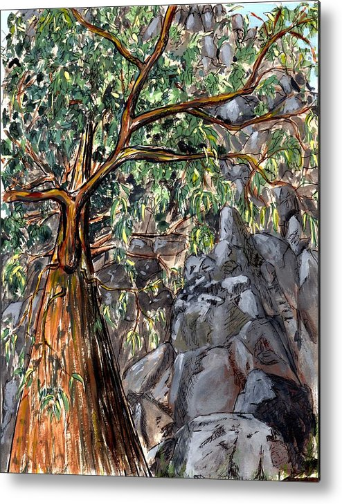 Trees Rock Steep Hill Tasmania Metal Print featuring the painting Look Up by Bethwyn Mills