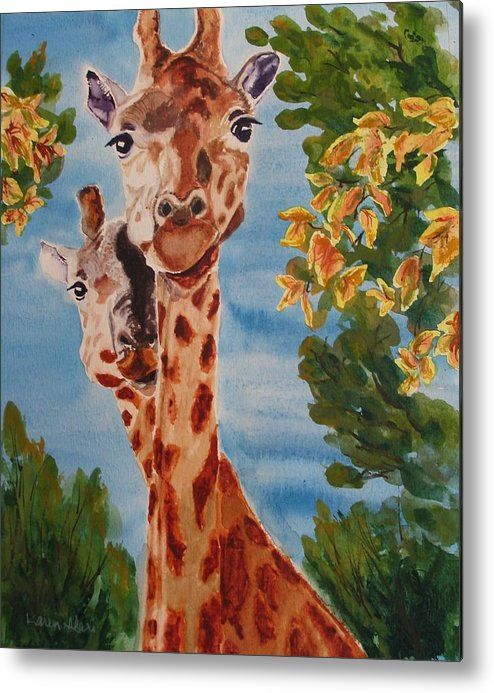 Giraffes Metal Print featuring the painting Lookin Back by Karen Ilari