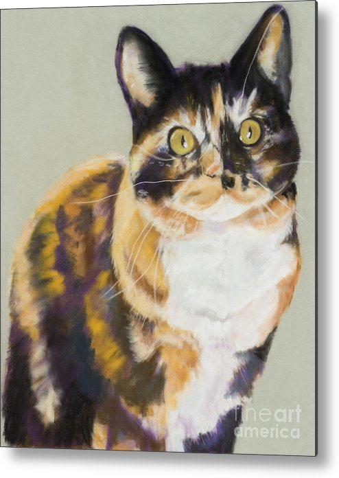 Calico Metal Print featuring the painting Maggie Mae by Pat Saunders-White