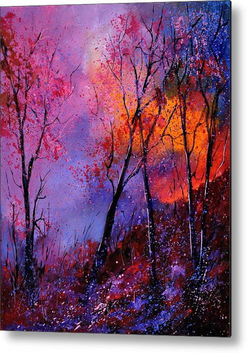 Landscape Metal Print featuring the painting Magic trees by Pol Ledent