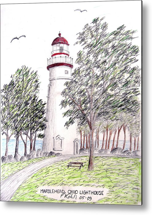 Lighthouse Artwork Metal Print featuring the drawing Marblehead Ohio Lighthouse by Frederic Kohli
