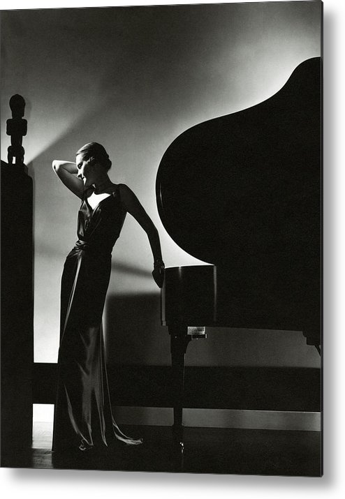 Fashion Metal Print featuring the photograph Margaret Horan Posing Beside A Piano by Edward Steichen