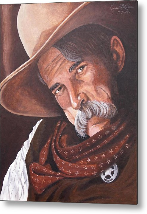 Cowboy Metal Print featuring the painting Marshall Bill Speaks by Kenneth Kelsoe