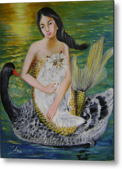 Surrealist Metal Print featuring the painting Mermaid And Swan by Lian Zhen