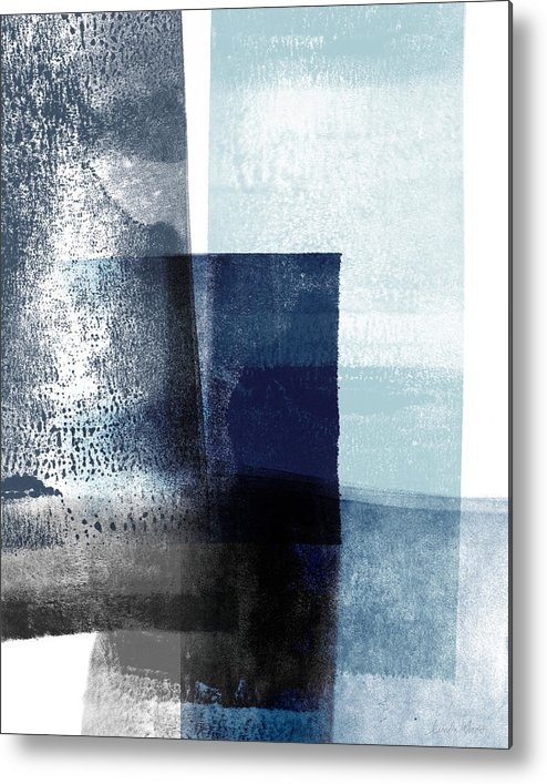 Blue Metal Print featuring the mixed media Mestro 4- Abstract Art by Linda Woods by Linda Woods