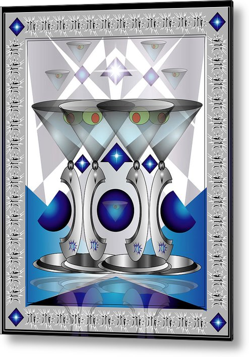 Martini Metal Print featuring the digital art Metal Martinis by George Pasini