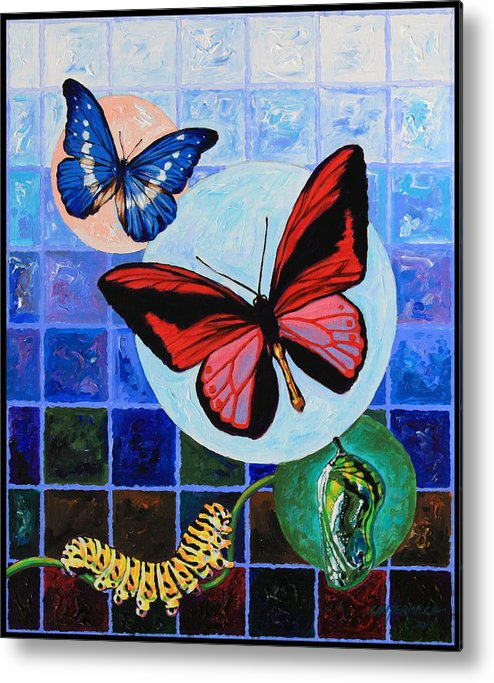 Butterflies Metal Print featuring the painting Metamorphosis of the New Life by John Lautermilch