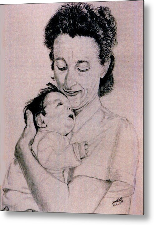 Modona Metal Print featuring the drawing Modona and Baby by Stan Hamilton