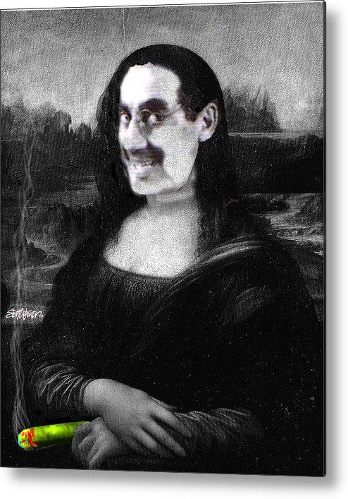 Mona Lisa Metal Print featuring the digital art Mona Grouchironi by Seth Weaver