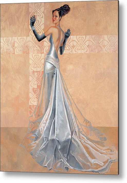 Fashion Illustration Metal Print featuring the painting Moonlight Daiquiri by Barbara Tyler Ahlfield
