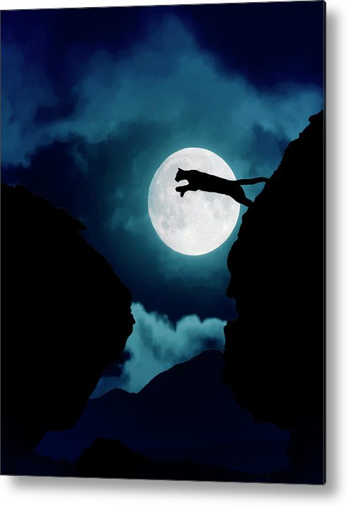 Mountain Lion Metal Print featuring the photograph Moonlight Leap by Roy Nierdieck