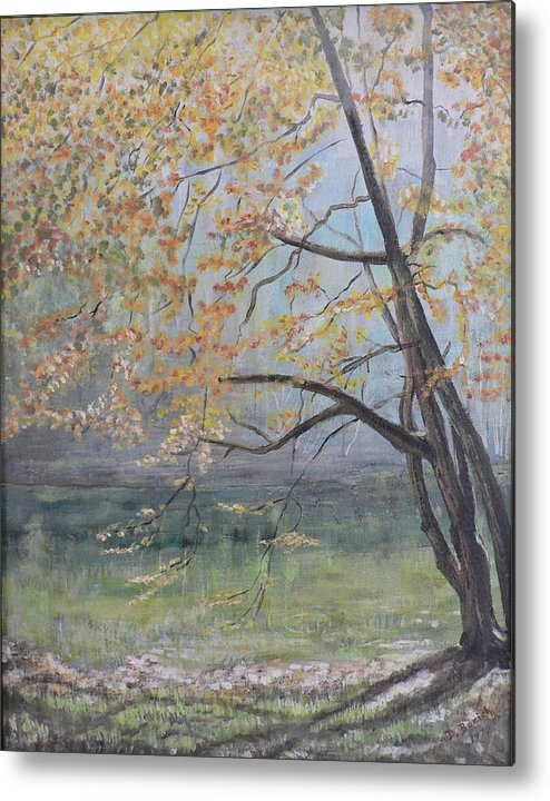 Trees In The Fall Metal Print featuring the painting Morning Solitude by Dan Bozich
