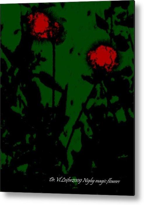 Flowers.night.leaves.magic Metal Print featuring the digital art Night magic flowers by Dr Loifer Vladimir