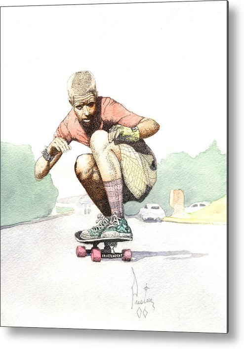 Duane Peters Skateboard Art Old School Nhs Santa Cruz Punk Skater Skateboarder Thrasher Metal Print featuring the painting Old School Skater by Preston Shupp