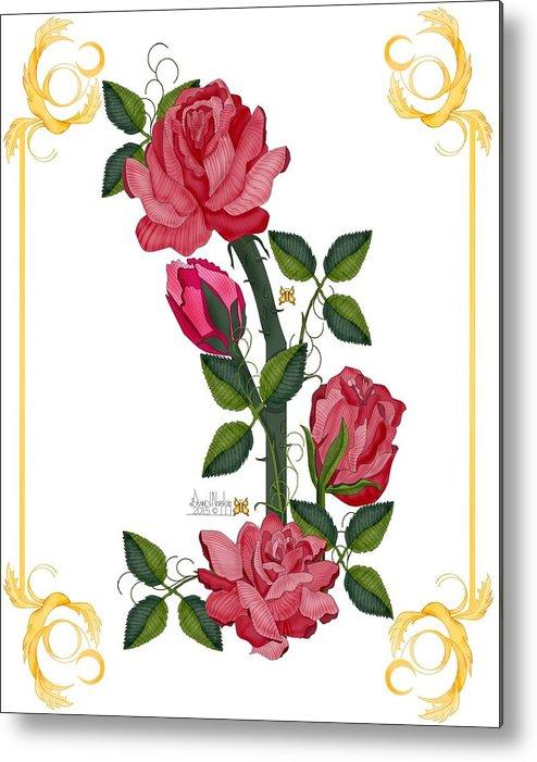 Anne V. Norskog Original Digital Art Metal Print featuring the painting Olde Rose Pink With Leaves and Tendrils by Anne Norskog