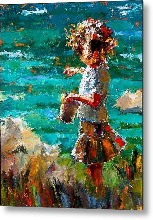 Children Metal Print featuring the painting One At A Time by Debra Hurd