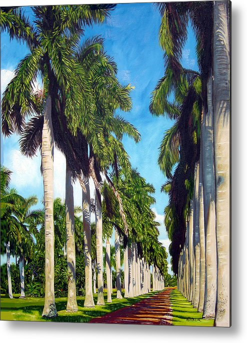 Palms Metal Print featuring the painting Palms by Jose Manuel Abraham
