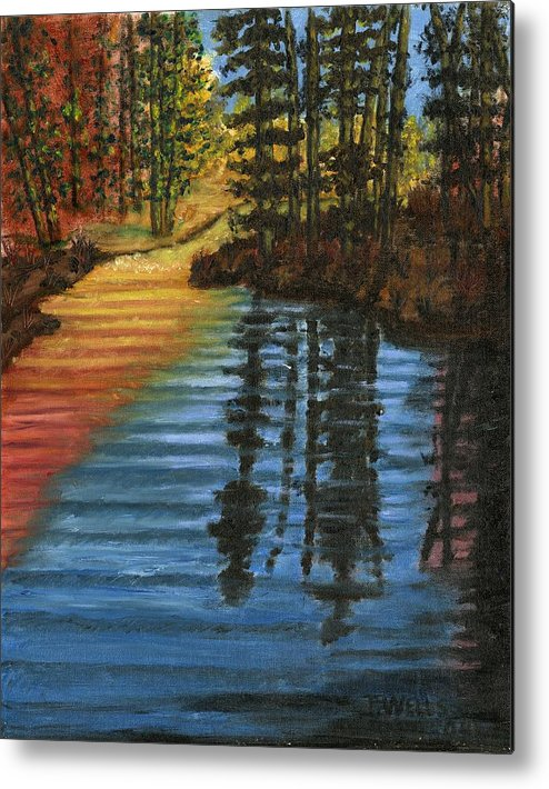 Peaceful Brook Stream Vibrant Color Reflective Metal Print featuring the painting Peaceful Brook by Tanna Lee M Wells