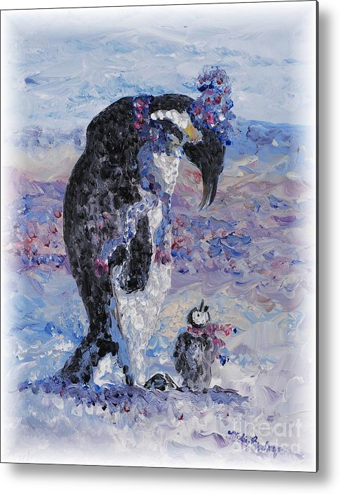 Penguins Winter Snow Blue Purple White Metal Print featuring the painting Penguin Love by Nadine Rippelmeyer