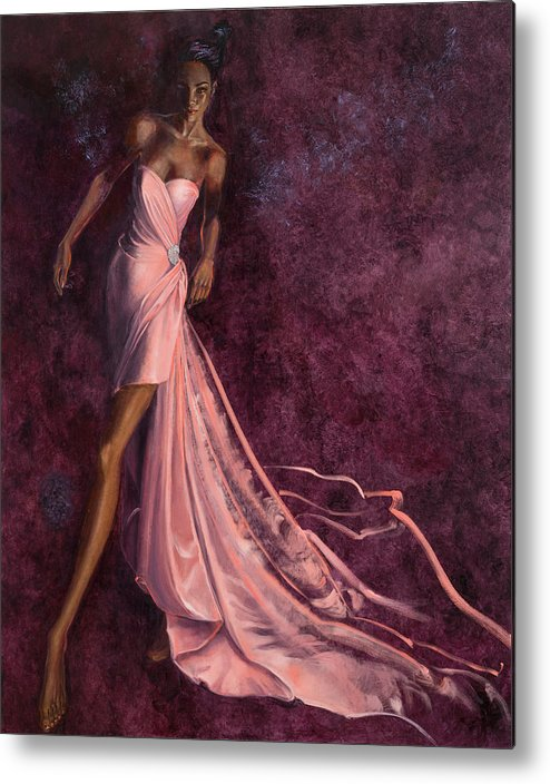 Fashion Illustration Metal Print featuring the painting Pink Prowl by Barbara Tyler Ahlfield