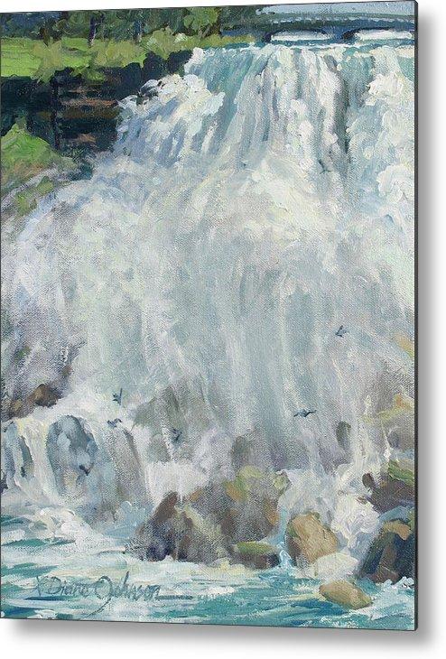 Niagara Falls Metal Print featuring the painting Playing In The Mist - Niagara Falls by L Diane Johnson