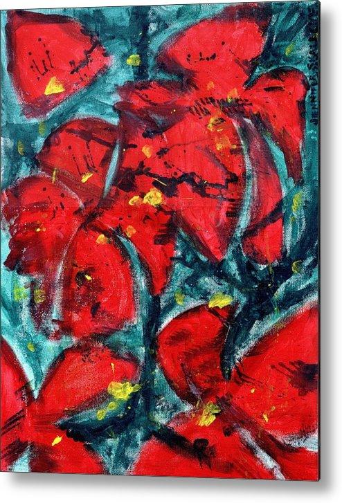 Flowers Metal Print featuring the painting Poppies - www.jennifer-d-art.com by Jennifer Skalecke