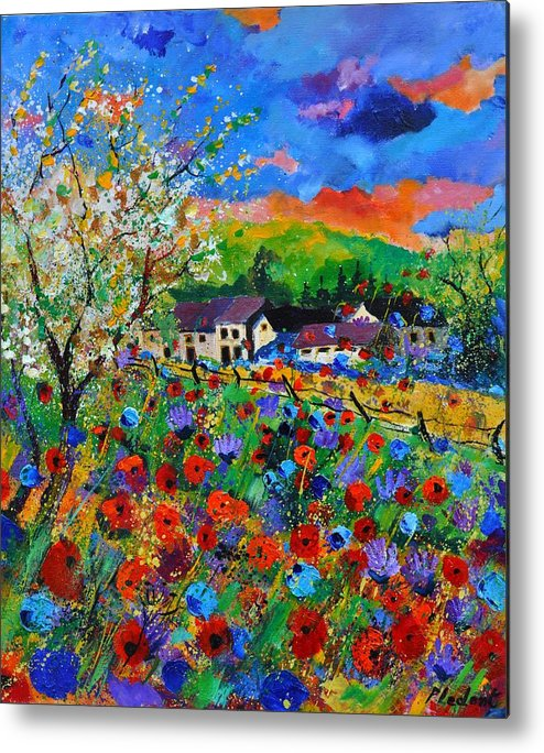 Poppies Metal Print featuring the painting Poppies in Sorinnes by Pol Ledent
