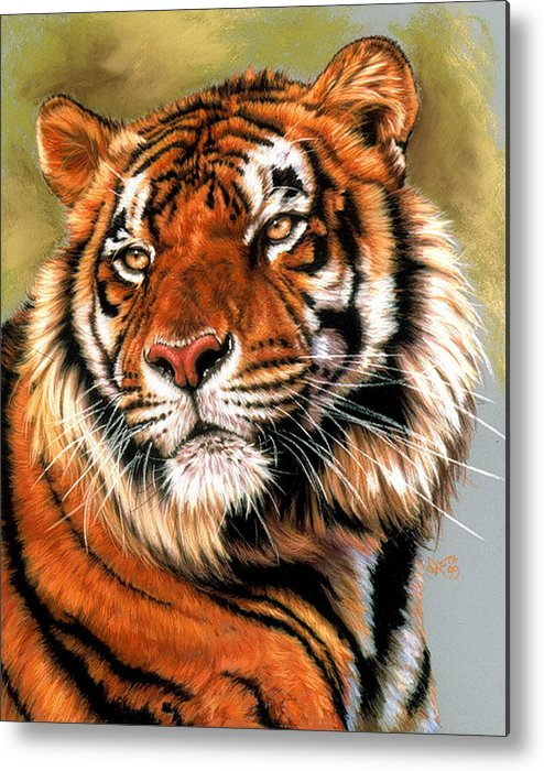 Tiger Metal Print featuring the pastel Power and Grace by Barbara Keith