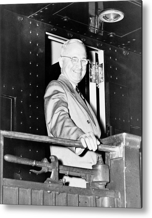 Harry Truman Metal Print featuring the photograph President Harry Truman by War Is Hell Store