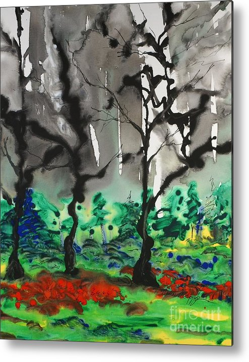 Forest Metal Print featuring the painting Primary Forest by Nadine Rippelmeyer
