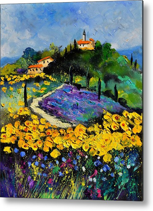 Landscape Metal Print featuring the painting Provence 561140 by Pol Ledent