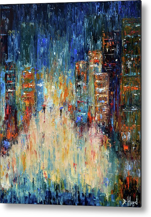 Abstract Painting Metal Print featuring the painting Rain Dance Blues by Debra Hurd