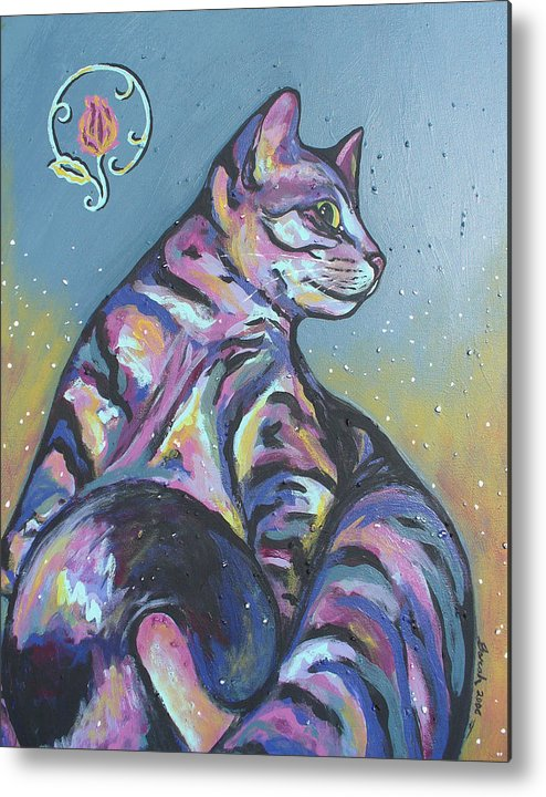 Cat Metal Print featuring the painting Rainbow Tabby by Sarah Crumpler