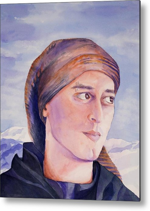 Man In Ski Cap Metal Print featuring the painting Ram by Judy Swerlick