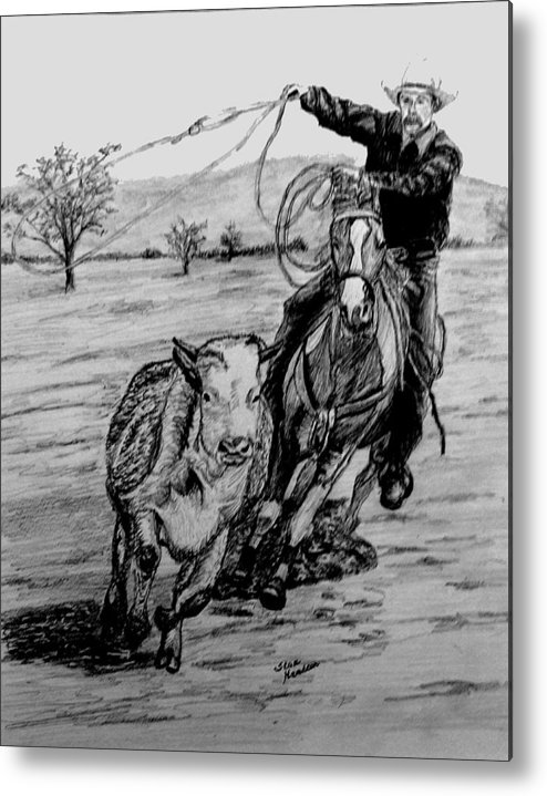 Pencil Metal Print featuring the drawing Ranch Work by Stan Hamilton