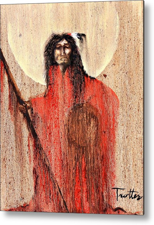 Inspirational Metal Print featuring the painting Red Man by Patrick Trotter